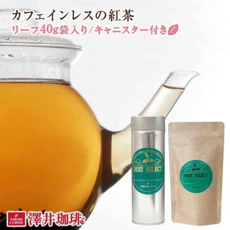 澤井珈琲,カフェインレスの紅茶リーフティー40g オリジナルキャニスター付
