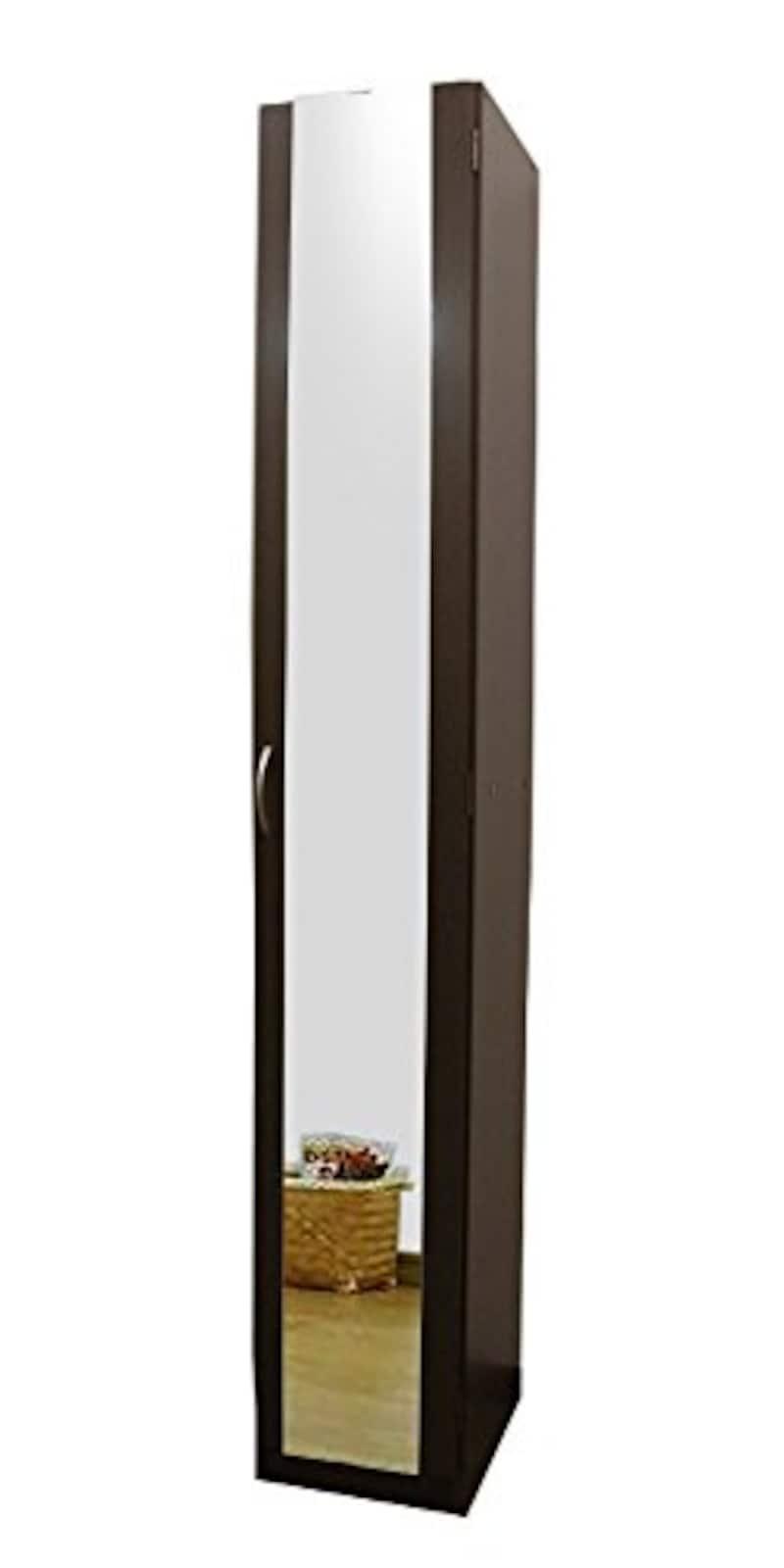 家具工場直販 家具ファクトリー,ミラー付き スリム シューズボックス