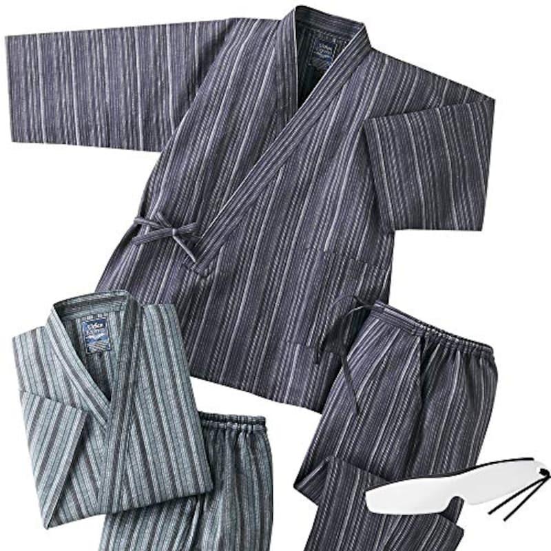 彩香,2着組 上下セット 夏用 涼しい しじら織り作務衣