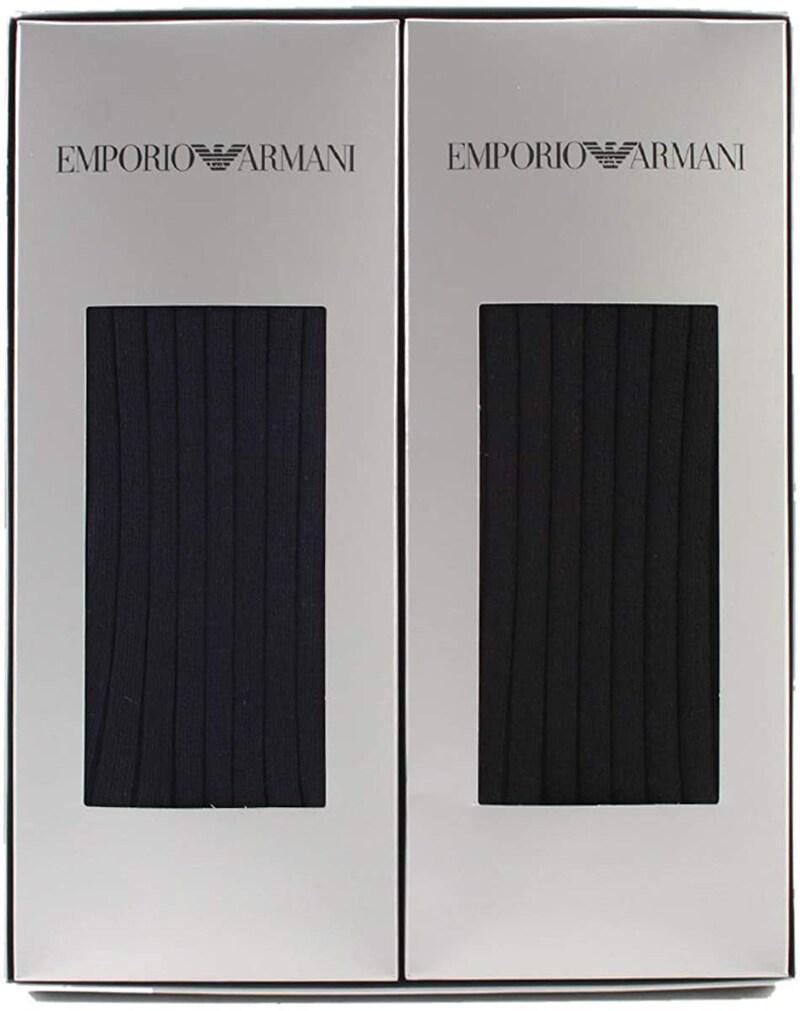 EMPORIO ARMANI,メンズ リブ クルーソックス 2足組