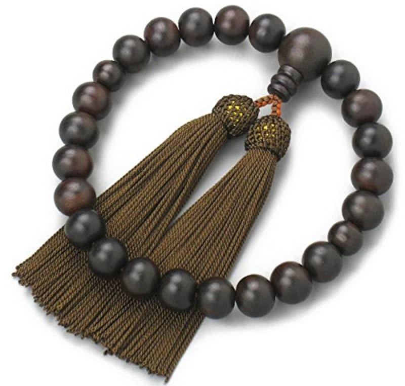 念珠堂,縞黒檀 22玉 数珠袋付,D220702koge-tya