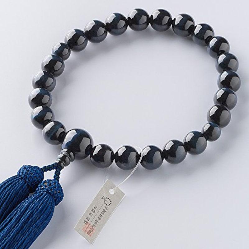 仏壇屋 滝田商店,青虎目石 22玉 数珠袋付き,jyu-k02