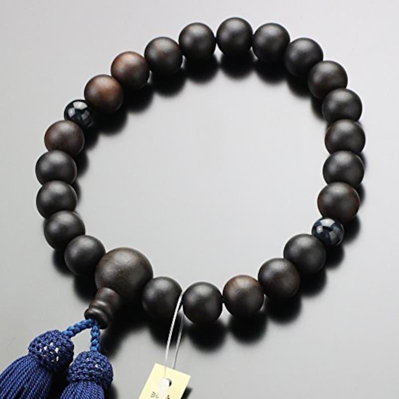 念珠ドットコム,京念珠 縞黒檀 青虎目石 22玉 数珠袋付き