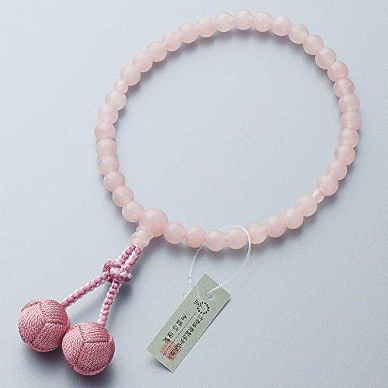 仏壇屋 滝田商店,紅水晶(ローズクォーツ)数珠袋付き,jyu-a010