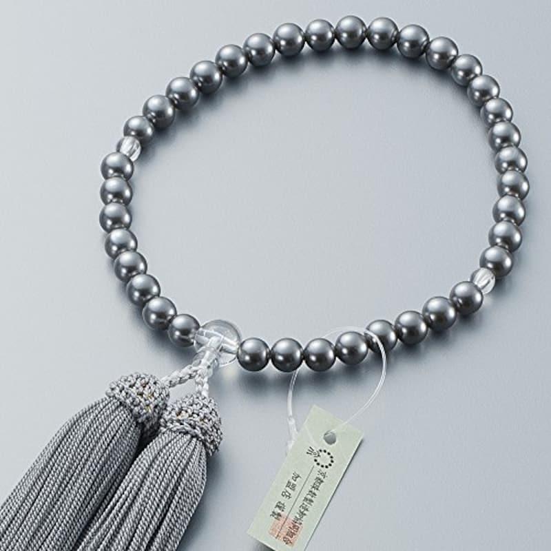 仏壇屋 滝田商店,京念珠 黒貝パール 数珠袋付き,jyu-k18