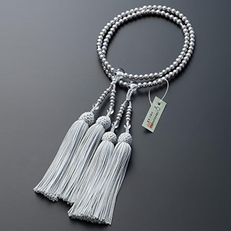 仏壇屋 滝田商店,淡水パール(グレー) 本水晶仕立 8寸 数珠袋付き,jyu-s174