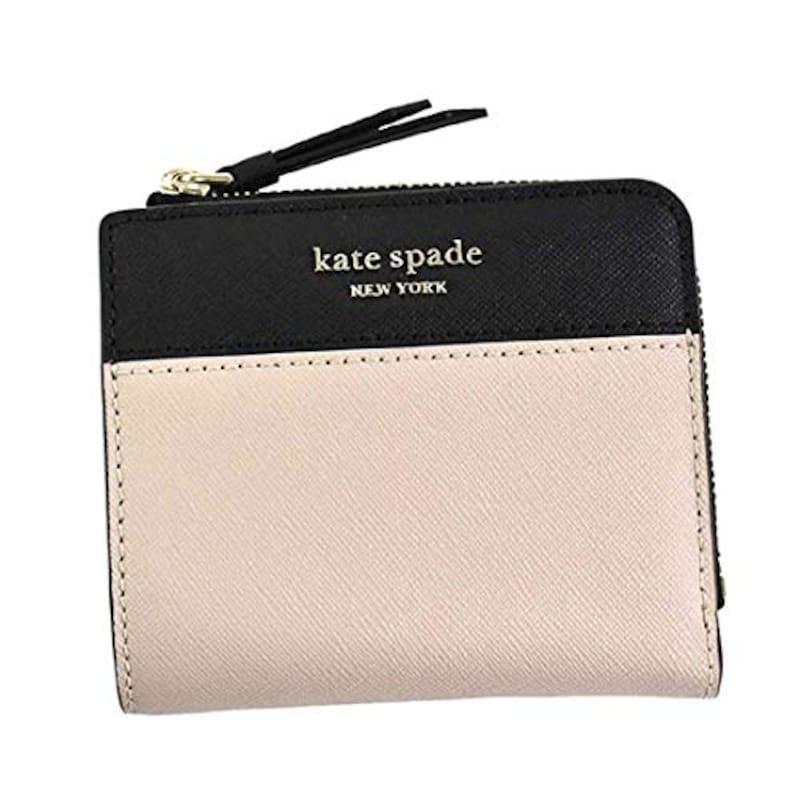 Kate spade,二つ折り財布 ベージュ×ブラック