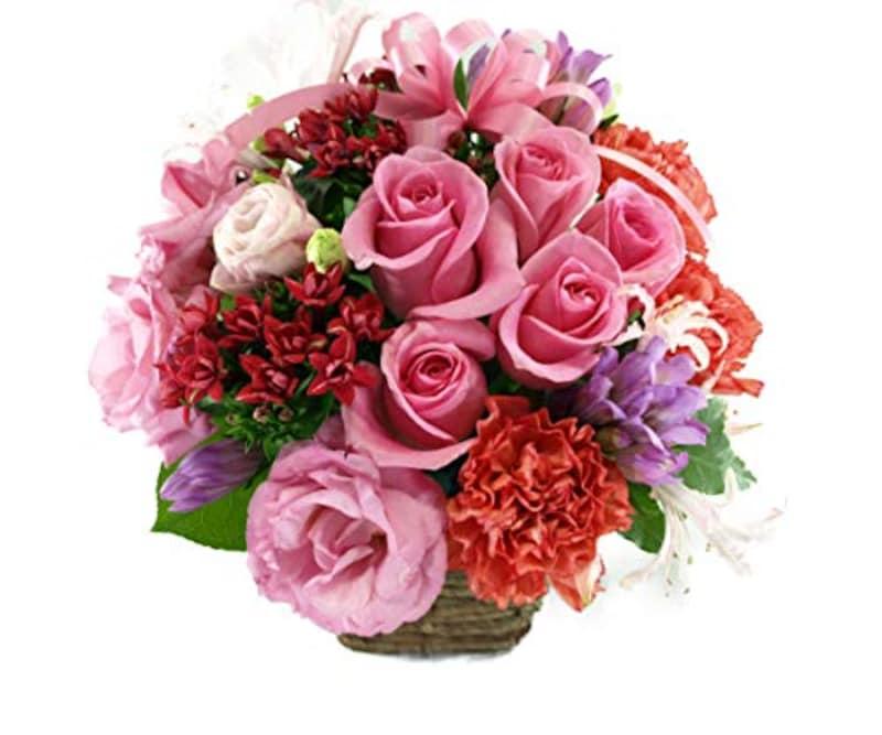 白坂花店,5本のバラと季節のお花のリボンアレンジメント