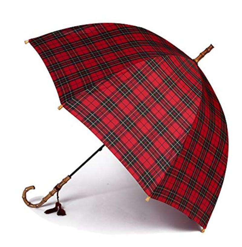 WAKAO,バンブー 雨傘 タータンチェック 長傘