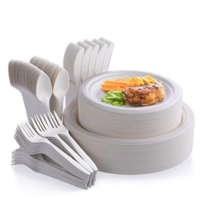 Fuyit,使い捨て食器セット 堆肥化サトウキビカトラリー食器