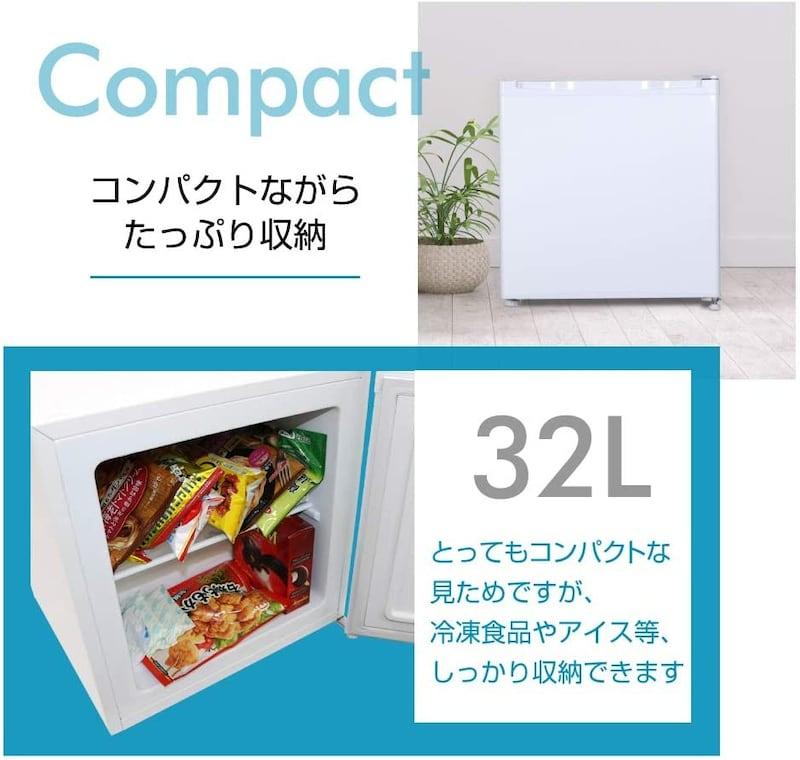 maxzen(マクスゼン),ノンフロン右開き冷凍庫 ,JF032ML01WH