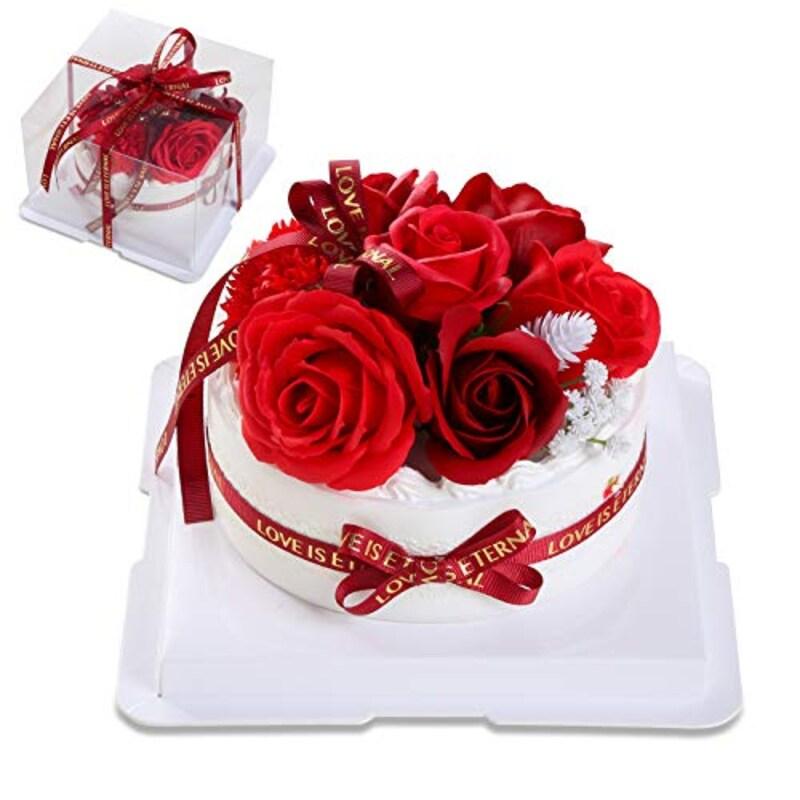 Slime,ソープフラワーケーキ,cakeflower-red