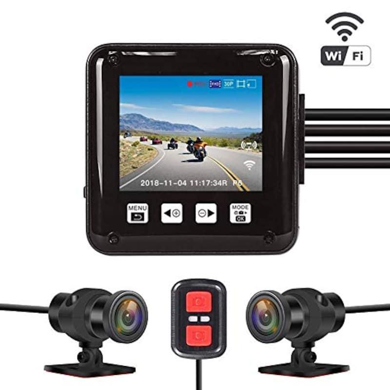 VSYSTO,2020年版 バイク用ドライブレコーダー 前後2カメラ ,P6F