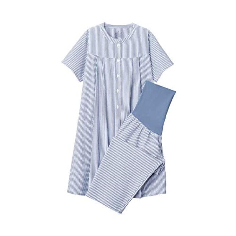 無印良品,脇に縫い目のないサッカー半袖パジャマ