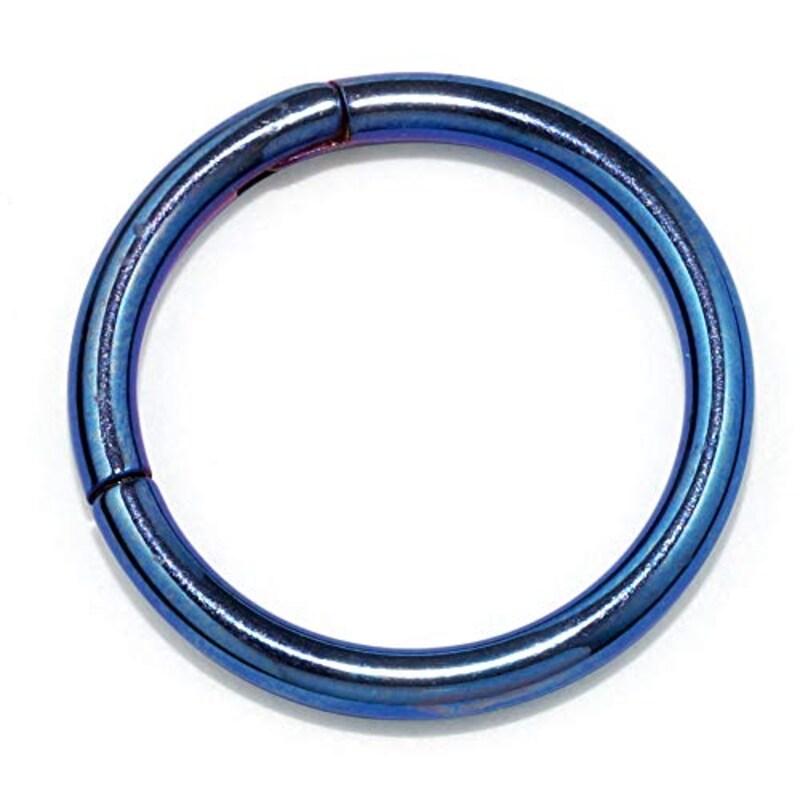 凛RIN,サージカルステンレス ワンタッチセグメントリング(16g・10mm/ブルー), h1132-262-16g-16g-10mm-bl
