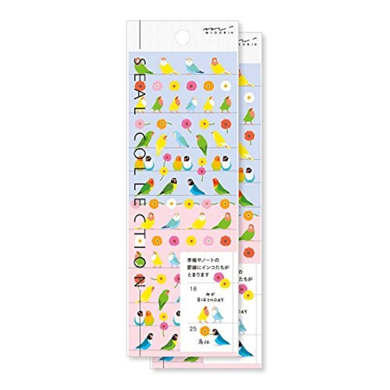 デザインフィル,シール 2枚パック 小さなコザクラインコ柄,82205006