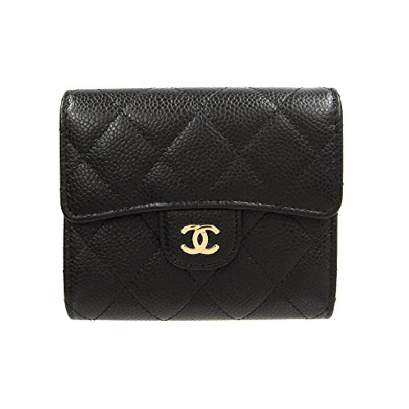 CHANEL(シャネル),マトラッセ キャビアスキン 二つ折り財布