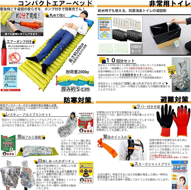 Relieved Life,防災グッズ セット 1人用 【消防士協力監修 40種類48点セット】