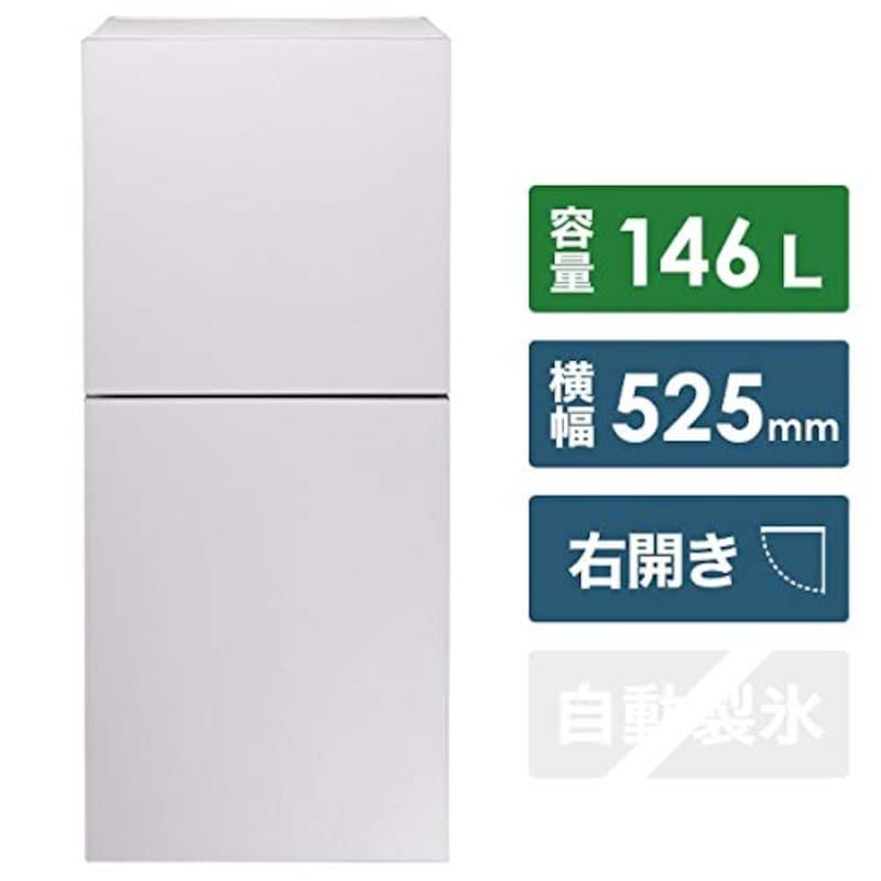 TWINBIRD(ツインバード工業),2ドア冷凍冷蔵庫ハーフ&ハーフ 146L,HR-E915PW