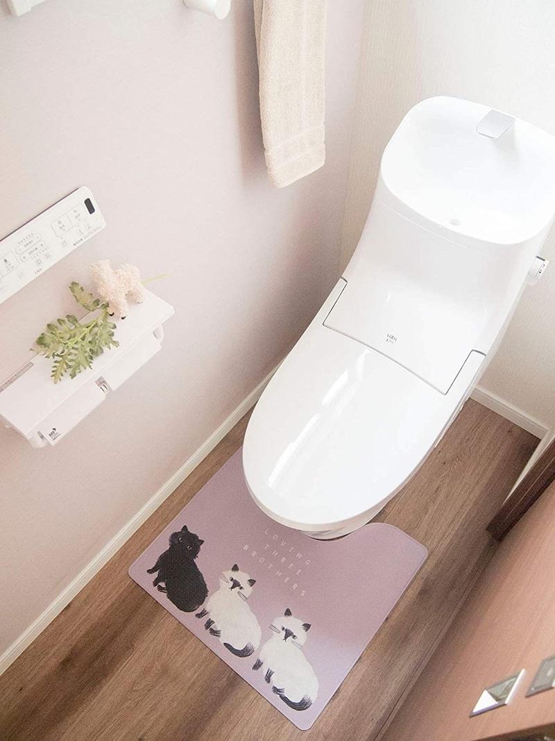 オカトー,拭ける撥水トイレマット ネコ