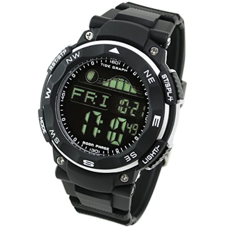 ラドウェザー(LAD WEATHER),ダイバーズ腕時計 タイドグラフ (ブラック(反転液晶)),lad019