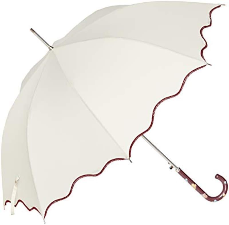 AURORA(オーロラ),ヴィ・クチュリエ 波型ロック・ピコレース加工ジャンプ長傘