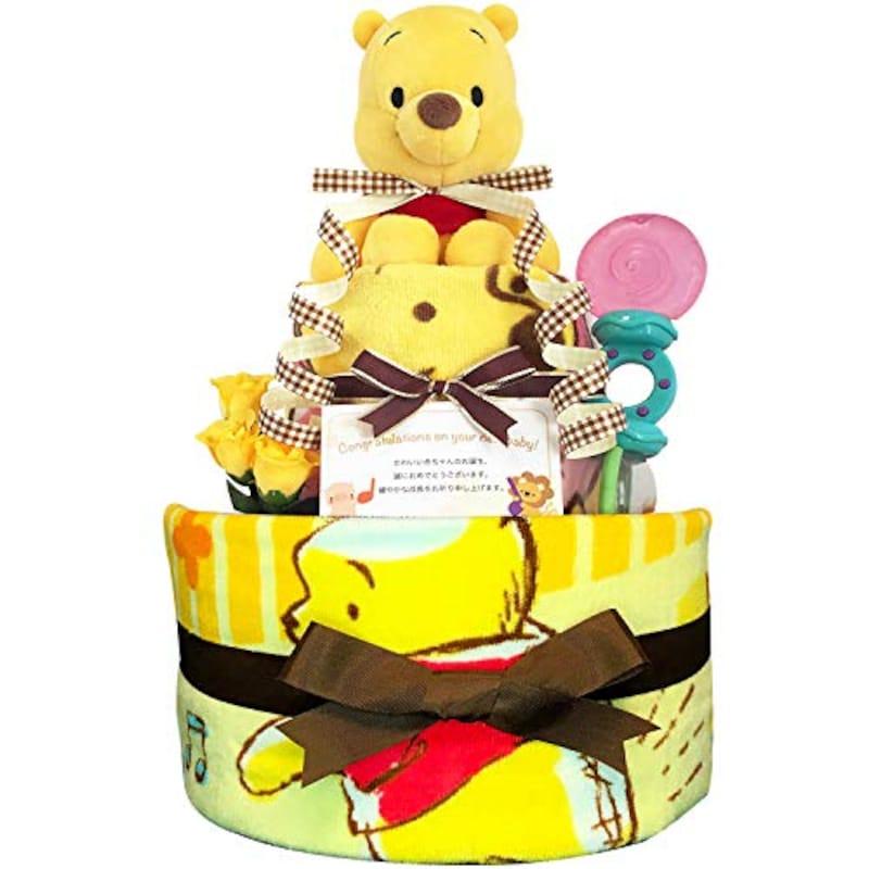KanonBabys,プーさん おむつケーキ 2段Sサイズ,Poo3001sp