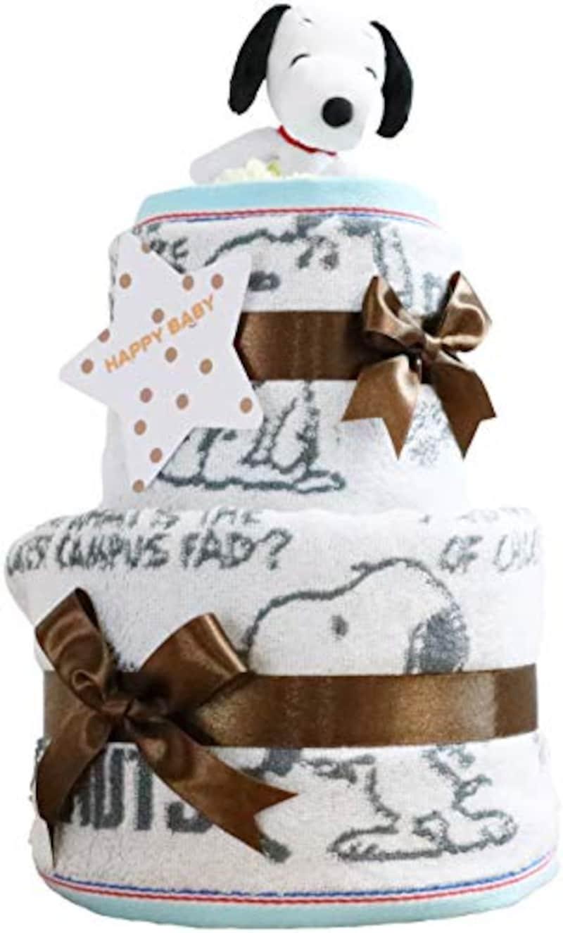おむつケーキ研究所,スヌーピー 2段おむつケーキ,Snoopy_fba_2