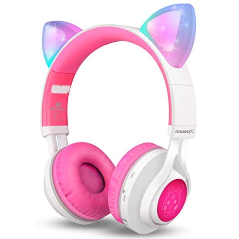 Riwbox,猫耳 子供用ワイヤレスBluetoothヘッドフォン,CT-7