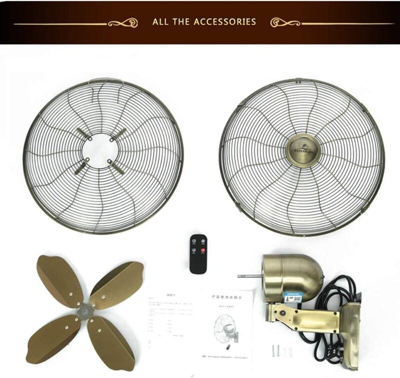 wall fan,アンティークウォールファンメタルクラフトシェイクヘッド壁掛け扇風機