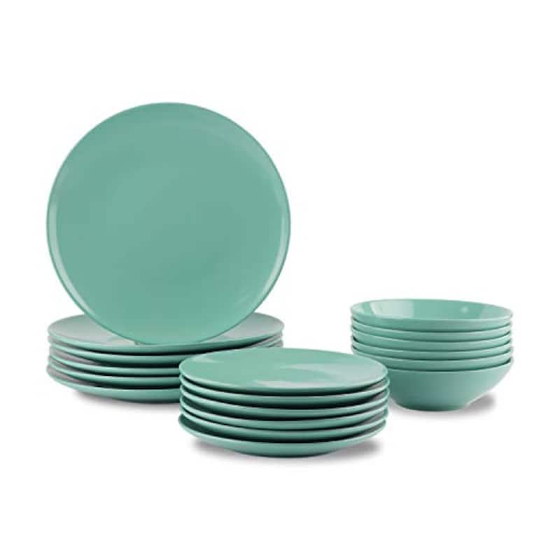 Amazonベーシック,ディナー皿18枚セット ストーンウェア  ミント
