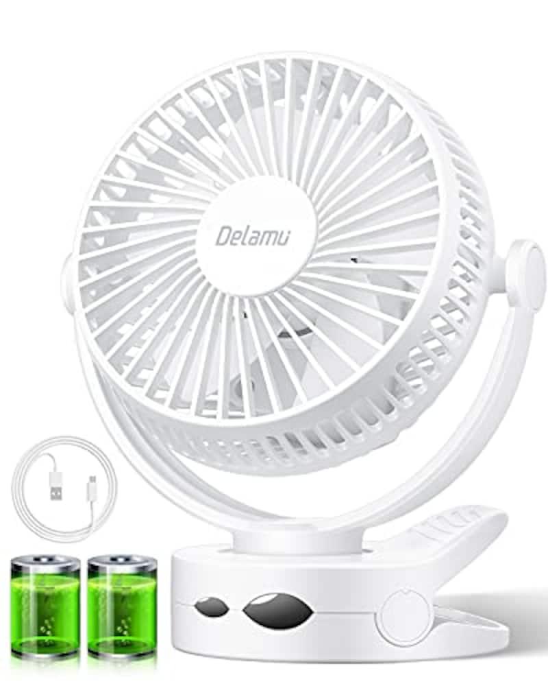 Delamu,USB扇風機 クリップ式 ホワイト