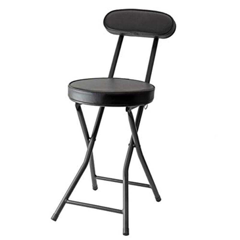 パール金属(PEARL METAL),パール金属 折りたたみ パイプ チェア 限定 マット ブラック 高さ 73cm 背付 コンパクト 椅子 BLKP 黒,N-7572