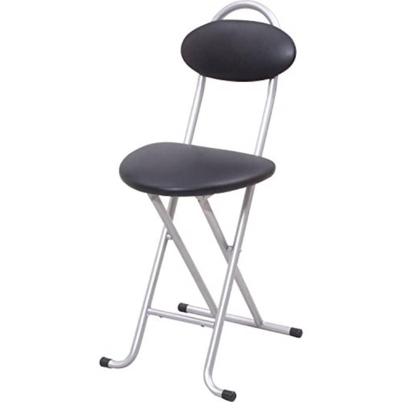 山善(YAMAZEN),折りたたみ パイプ 椅子 幅33×奥行43×高さ75cm スリム 使う場所を選ばない 完成品 シルバー・ブラック,YZX-35(SB)