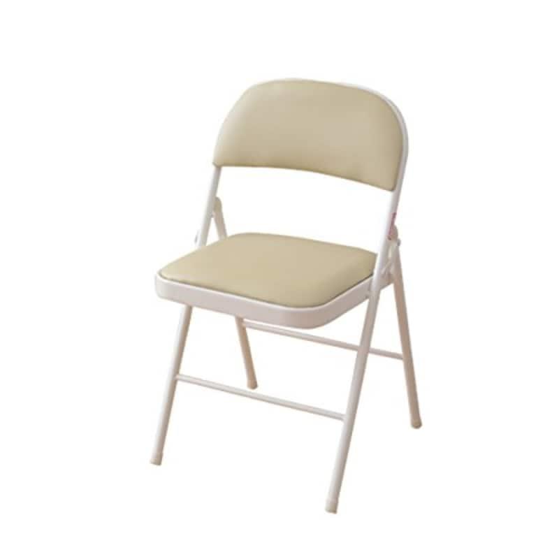 山善(YAMAZEN),折りたたみ パイプ 椅子 座面ゆったり39×39cm コンパクト収納 完成品 アイボリー/ホワイト