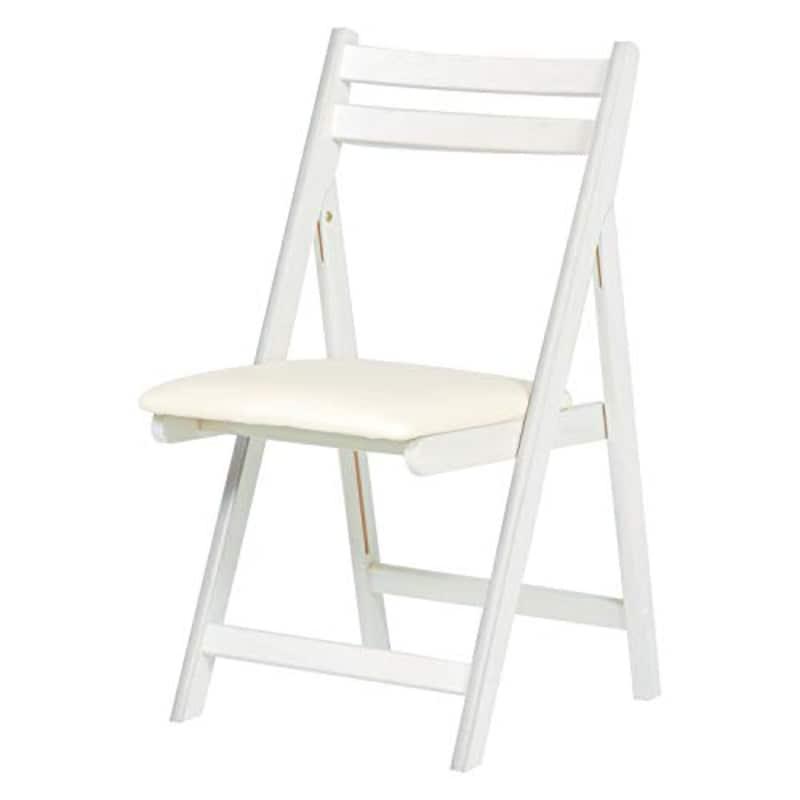 萩原, 折りたたみチェア 椅子 コンパクト チェア【背もたれゆったり39cm】在宅ワーク 仕事 省スペース ホワイトウォッシュ