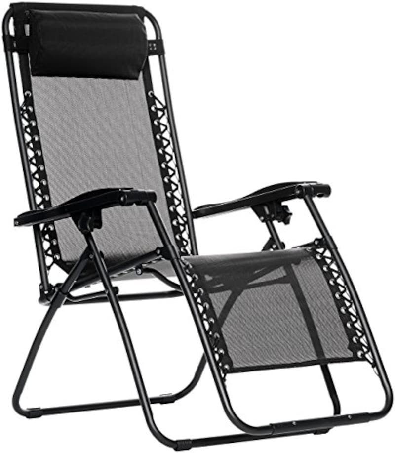 Amazon Basics アマゾンベーシック,椅子 折りたたみ ゼログラビティーチェア インフィニティチェア ブラック