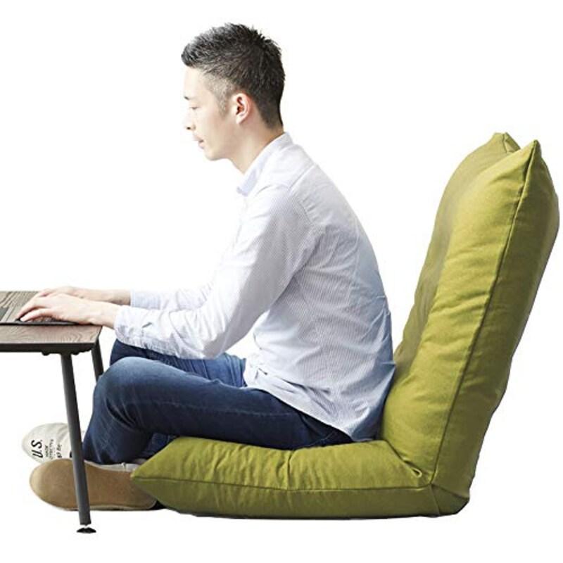 DOSHISHA(ドウシシャ),テレワーク 3Dクッション 高品質ウレタン 座椅子 疲れにくい あぐらざいす グリーン
