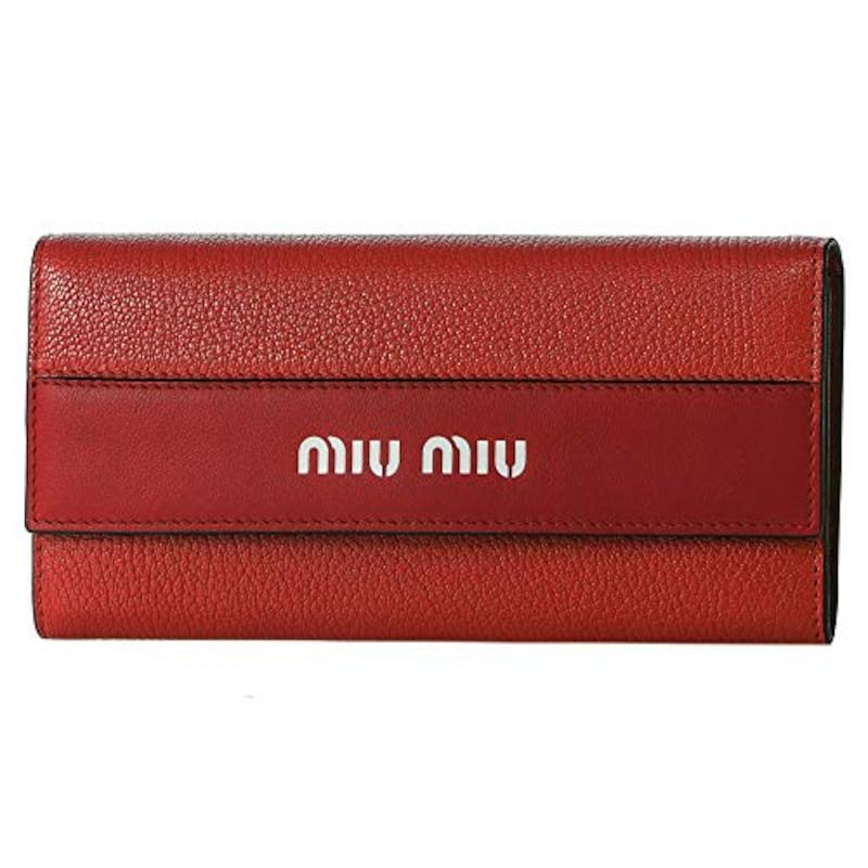MIUMIU(ミュウミュウ),長財布  マドラス シティカーフ レッド 赤, 5MH109 2BU4 F068Z