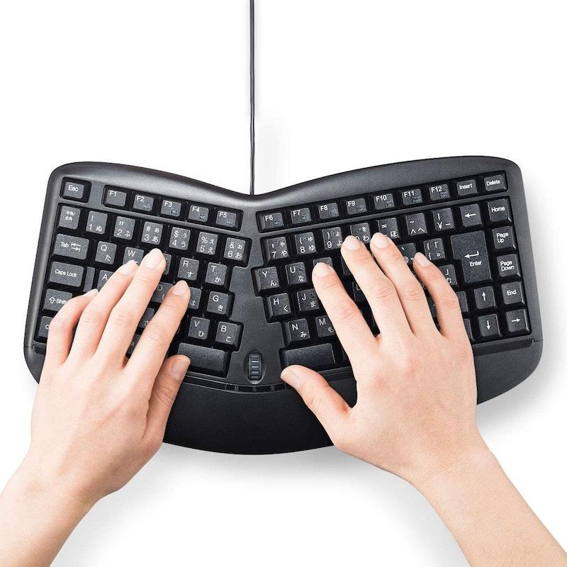 サンワサプライ,エルゴノミクスキーボード,SKB-ERG3BK
