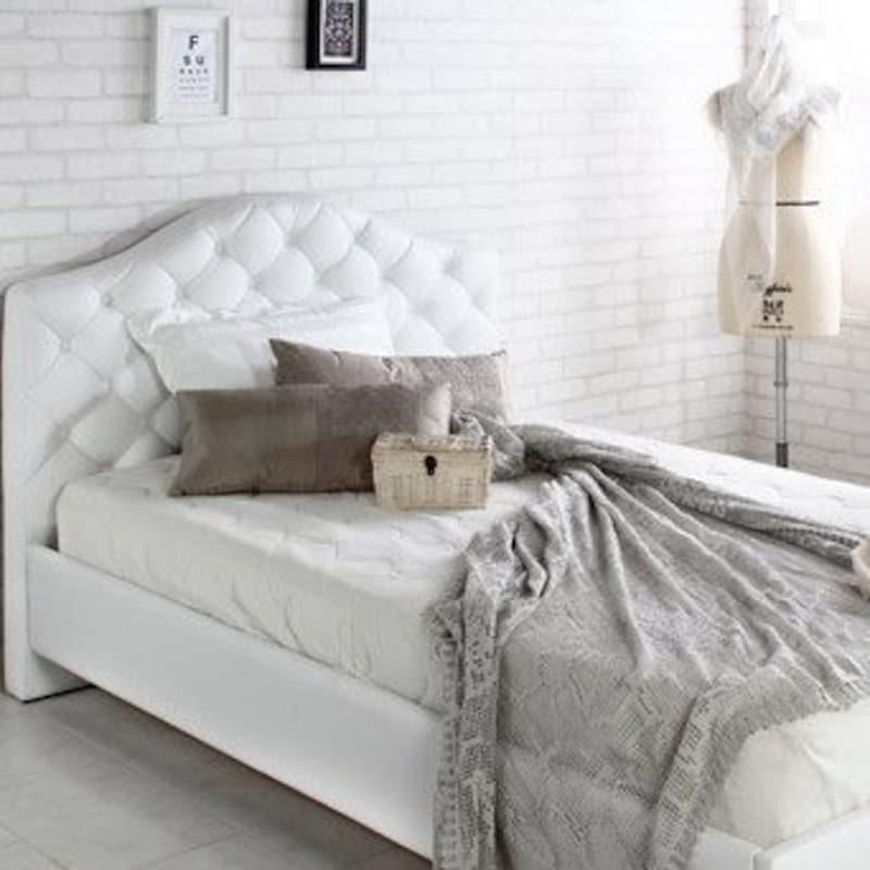 You B.C,おしゃれな白い ハイバック レザー すのこベッド