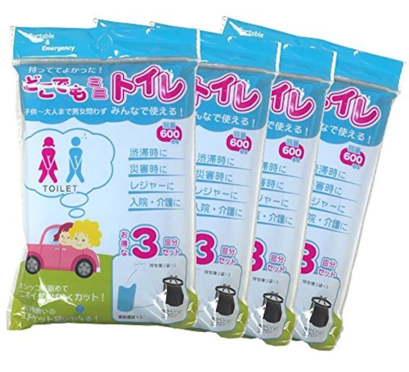 AREX SANGA(アレックスサンガ),携帯トイレ どこでもミニトイレ 12回分(3回分×4パック) 男女兼用 ,ASB16-01