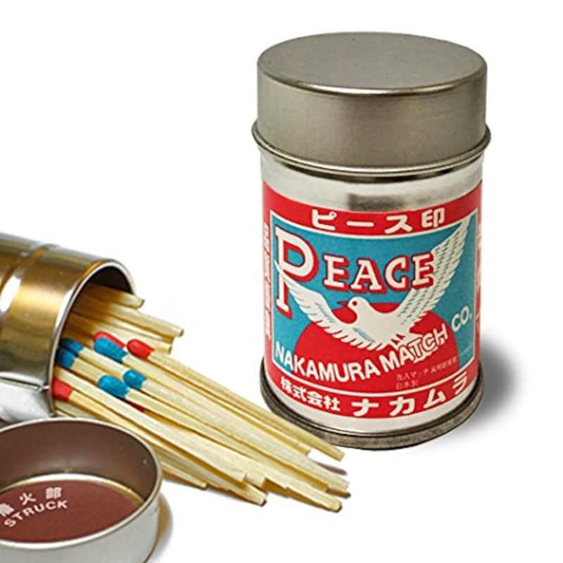 ナカムラマッチ,ピース印 アウトドア・スチール缶マッチ,Nak-012