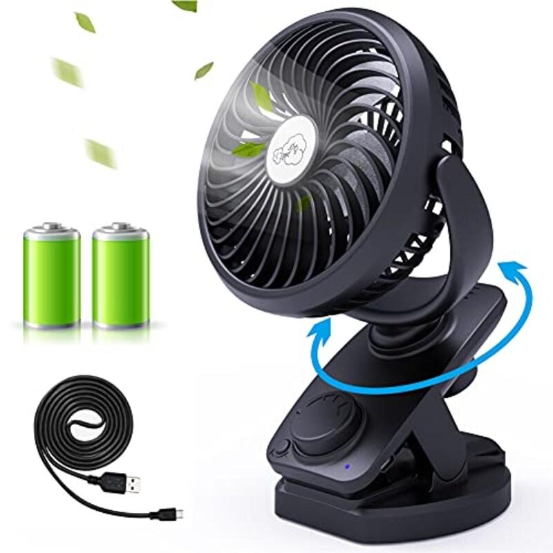 Lifeholder,クリップ扇風機 5000mAh大容量 風量無段階調節