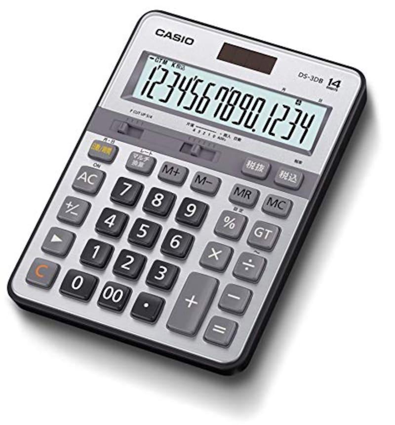 CASIO(カシオ),本格実務電卓 14桁 日数&時間計算 グリーン購入法適合 デスクタイプ,DS-3DB