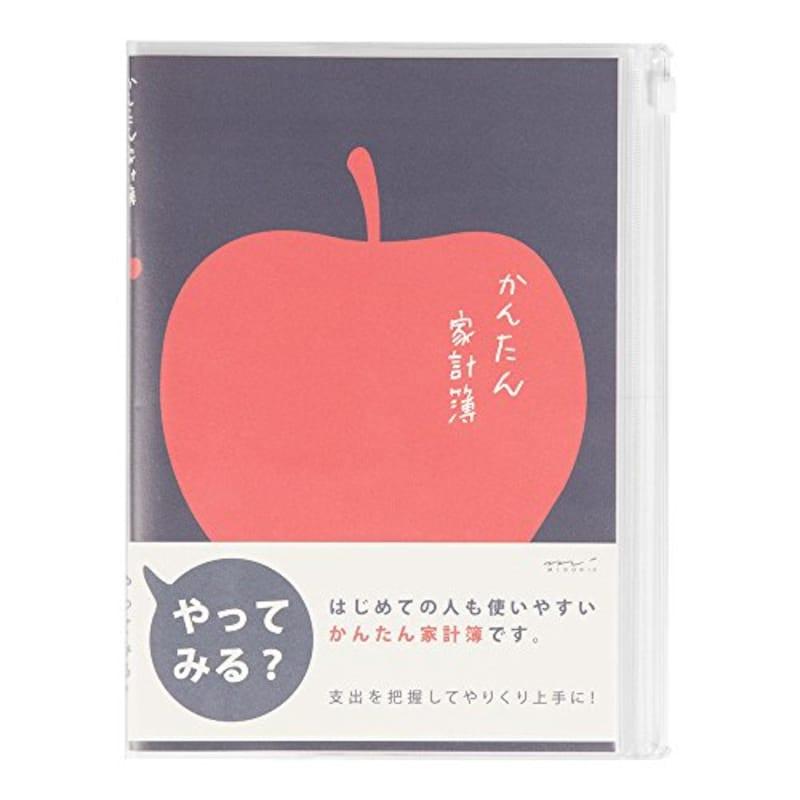 MIDORI(ミドリ),かんたん家計簿 月間 リンゴ柄,12390006