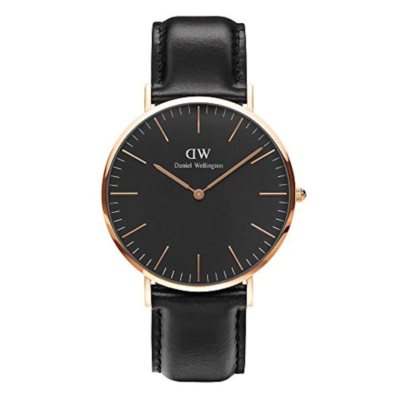 Daniel Wellington,CLASSIC BLACK ダニエル ウェリントン SHEFFIELD メンズ腕時計 クラッシー 本革  腕時計 ピンクゴールド 40mm [並行輸入品]
