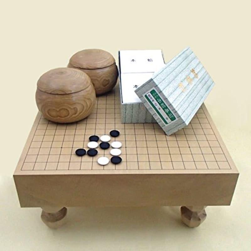 囲碁ラボ,北海道産本桂3寸一枚板足付碁盤竹と蛤碁石徳用雪・手作木製碁笥栗,1600a