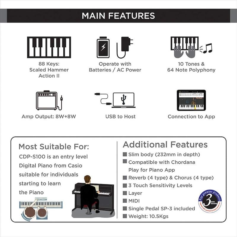CASIO(カシオ),電子ピアノ,CDP-S100BK