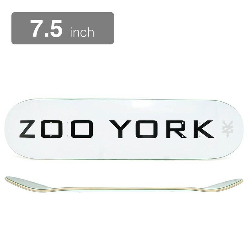 ZOO YORK(ズーヨーク) ,デッキ TEAM LOGO BLOCK WHITE 7.5